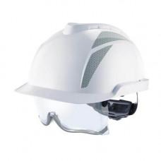 Каска защитная V-Gard 930, FasTracIII, без вентиляции, белая, серые наклейки не прикреплены.