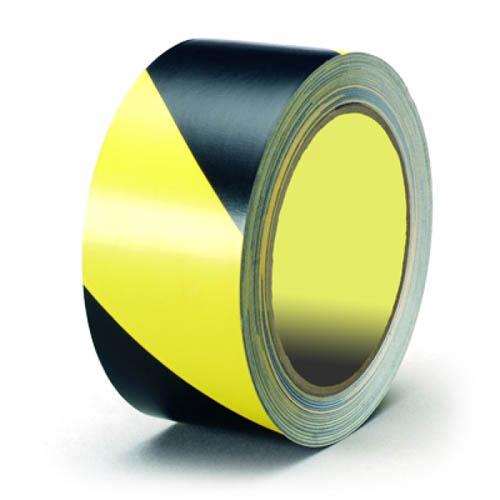 Сигнальная лента для разметки пола, желто-черная.